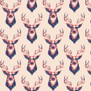 Geometric Deer - woodlands boho blush pink trendy spring antlers stag print