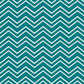 chevron no2 dark teal + off white