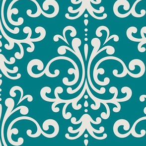 damask lg dark teal + off white