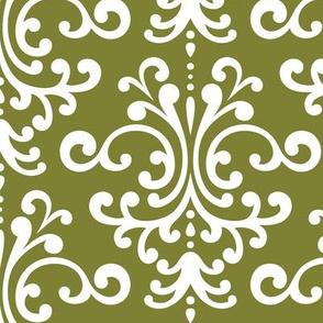 damask lg olive green
