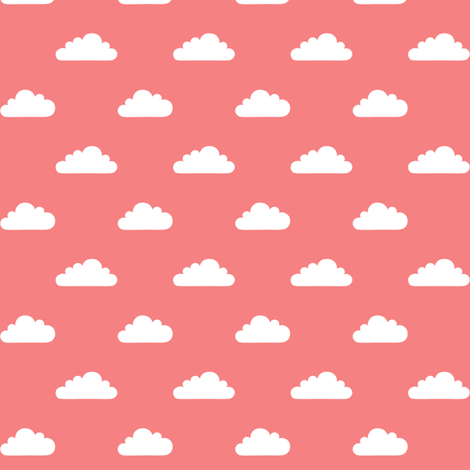mod baby » tiny clouds on coral fabric by misstiina on Spoonflower - custom fabric