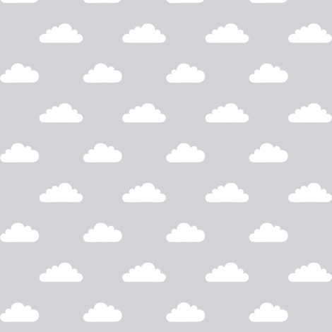 mod baby » tiny clouds on grey light fabric by misstiina on Spoonflower - custom fabric