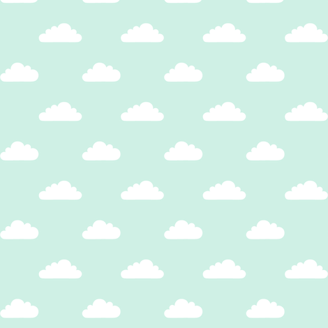 mod baby » tiny clouds on mint light fabric by misstiina on Spoonflower - custom fabric