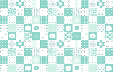 mod baby » cheater quilt mint fabric by misstiina on Spoonflower - custom fabric
