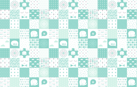 mod baby » mint wholecloth cheater quilt 4in fabric by misstiina on Spoonflower - custom fabric
