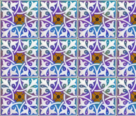 Medieval Tile ~ Opalescent Deep Sea  fabric by peacoquettedesigns on Spoonflower - custom fabric