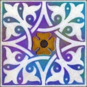 Medieval Tile ~ Opalescent Deep Sea