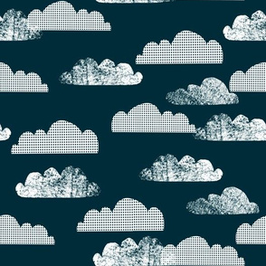 clouds // dark navy blue scandi kids baby nursery sweet sky