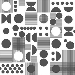 dots // grid charcoal scandi retro vintage dots