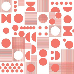 dots // coral dots dot scandi retro vintage