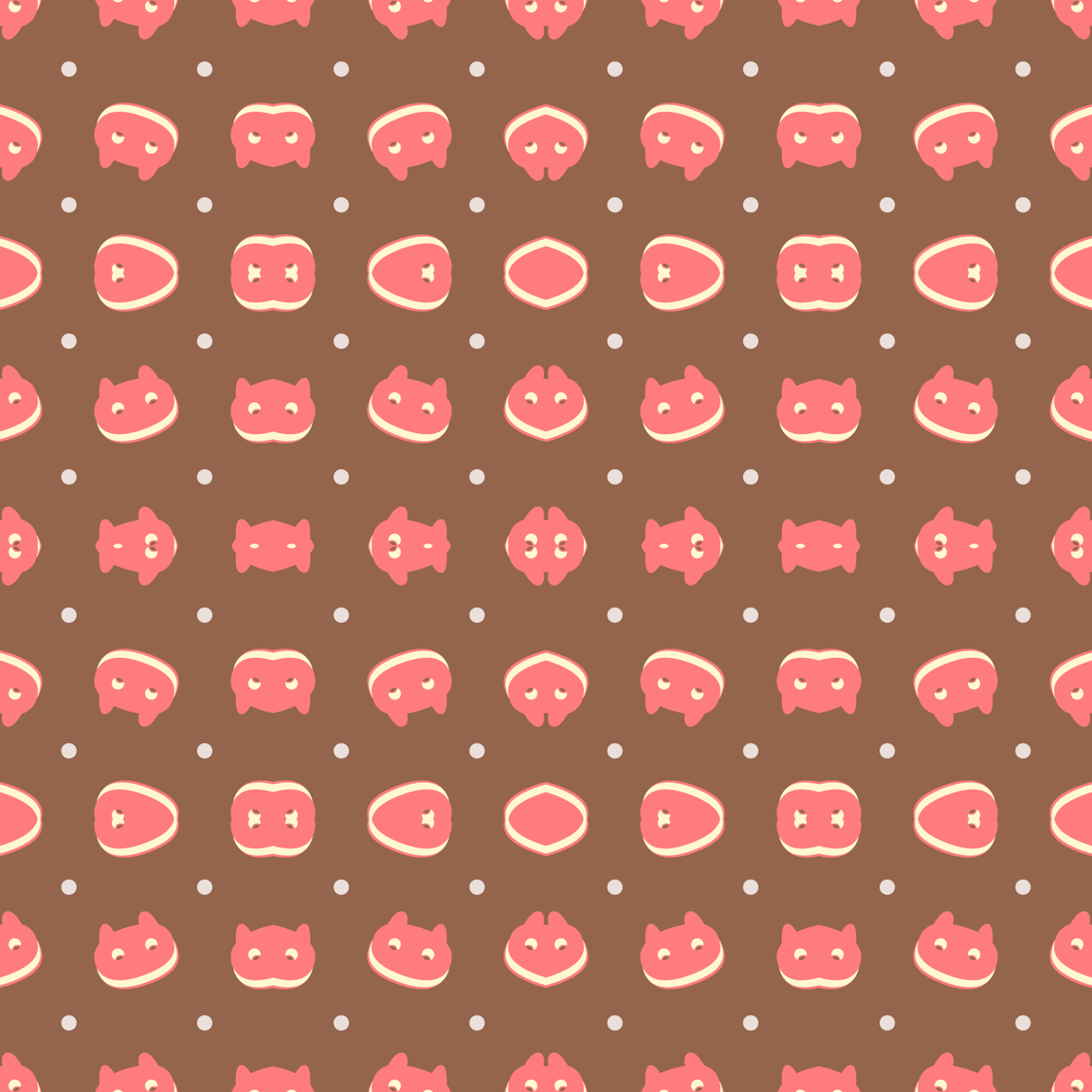 Strawberry Cookie Cat Fabric