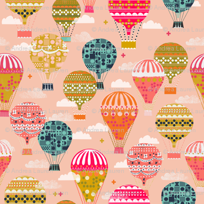 hot air balloons // pink hot air balloon retro vintage flying machine cute girls room pink