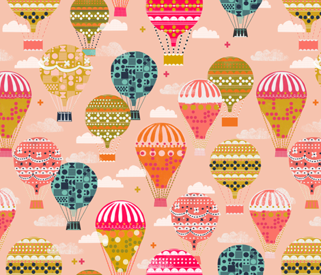 hot air balloons // pink hot air balloon retro vintage flying machine cute girls room pink fabric by andrea_lauren on Spoonflower - custom fabric