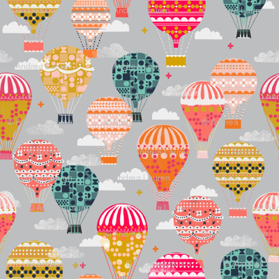 hot air balloons // vintage retro flying machine kids grey nursery baby sweet