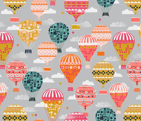 hot air balloons // vintage retro flying machine kids grey nursery baby sweet  fabric by andrea_lauren on Spoonflower - custom fabric