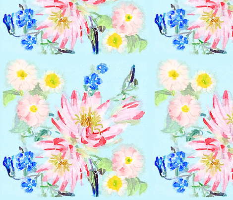 Watercolor Pastel Floral fabric by paperdaisydesign on Spoonflower - custom fabric