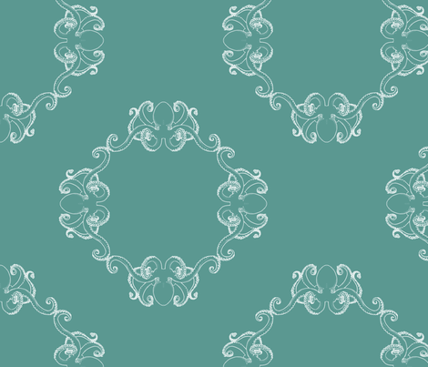 Aqua Kraken fabric by theaberranteye on Spoonflower - custom fabric