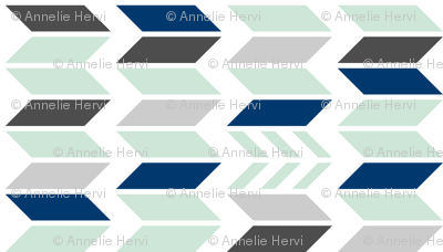 Mint Navy Gray Chevron 90 deg