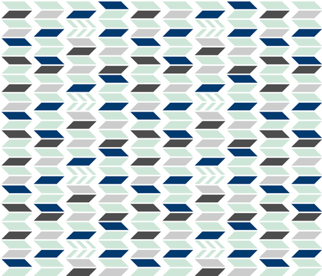 Mint Navy Gray Chevron 90 deg fabric by mrshervi on Spoonflower - custom fabric