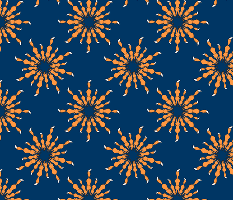 Orange Fox Party on Navy fabric by theaberranteye on Spoonflower - custom fabric