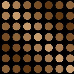 Polka dots brown on black.