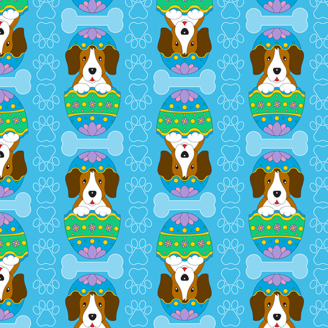 Easter Beagle (blue) fabric by jjtrends on Spoonflower - custom fabric