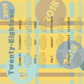 Retro Plaid 2018 Calendar - Yellow