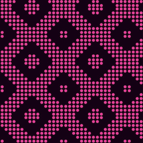 Black triangles and pink polka dots.