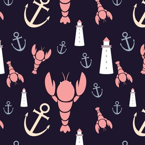 Maritime icons - plum, pink, lavender and yellow