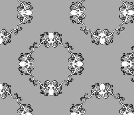 Kraken Gray fabric by theaberranteye on Spoonflower - custom fabric