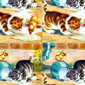 vintage retro kitsch cats kittens pussy ducks ducklings goose goslings milk flowers cans