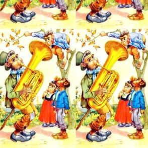 vintage retro kitsch monkeys apes gorillas chimps chimpanzees children forests trees leaves toddlers music musician bass tuba Anthropomorphic