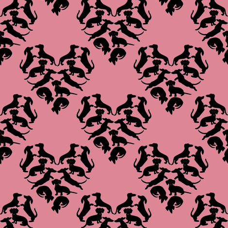 Doxie Love, Carnation fabric by eclectic_house on Spoonflower - custom fabric