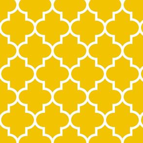 quatrefoil LG mustard yellow