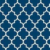 quatrefoil LG navy blue