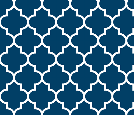 quatrefoil LG navy blue fabric by misstiina on Spoonflower - custom fabric
