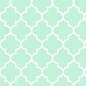 quatrefoil LG ice mint green