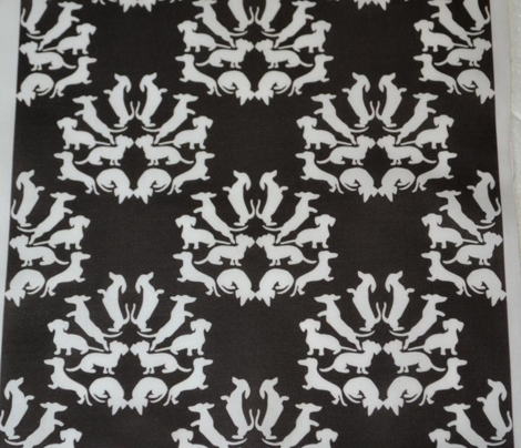 Doxie Damask, White on Black
