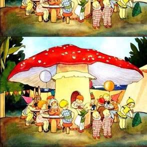 mushrooms toadstools children twins rabbits bunny pixies elf elves gnomes balloons carnivals funfairs drinks forests boys girls vintage retro kitsch