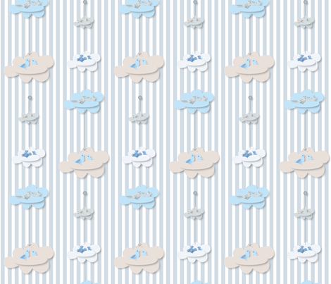 Paper Clouds Nests harmony blue fabric by colour_angel_by_kv on Spoonflower - custom fabric