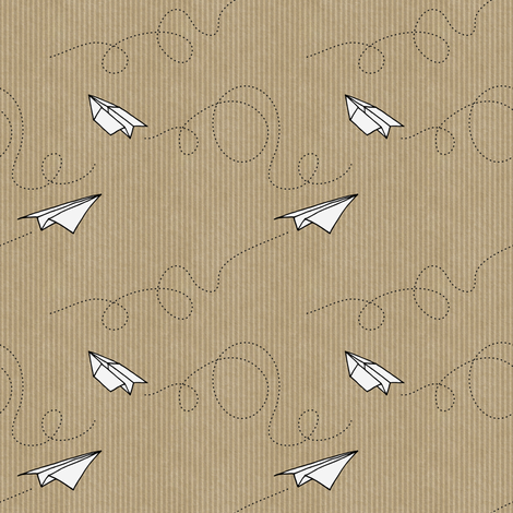 Paper Planes (on Kraft paper) fabric by seesawboomerang on Spoonflower - custom fabric