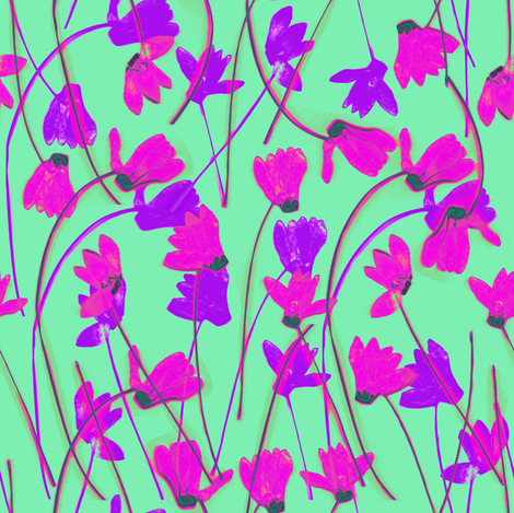Flowering Cyclamen #6 fabric by ornaart on Spoonflower - custom fabric