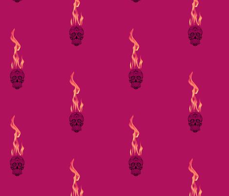 Flame Skull - Purple Haze fabric by tequila_diamonds on Spoonflower - custom fabric