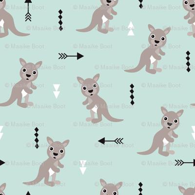 Hot pastel mint adorable geometric kangaroo illustration australia kids pattern design