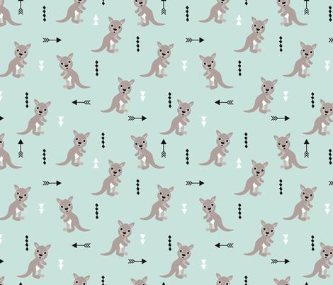 Hot pastel mint adorable geometric kangaroo illustration australia kids pattern design fabric by littlesmilemakers on Spoonflower - custom fabric