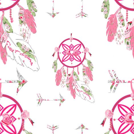 Sweet Dreams, Shabby Chic Dream Catchers fabric by karenharveycox on Spoonflower - custom fabric