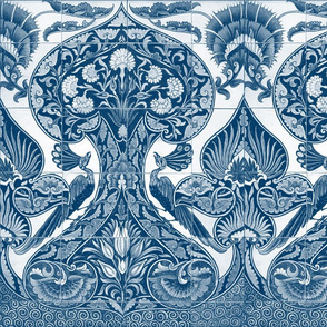 Merton Peacock Tiles ~ Lonely Angel Blue and White