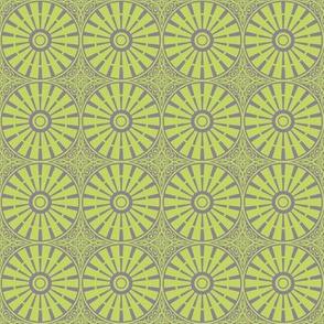 Breezy Windmill Wheel - Green on Gray