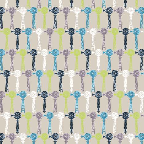 Breezy Windmills - Beige fabric by siya on Spoonflower - custom fabric