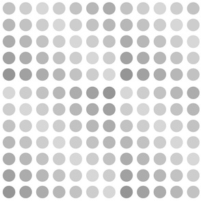 Polka dots various shades of grey on white